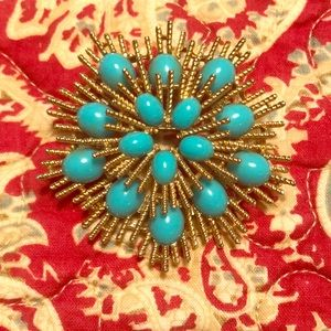 Avon Gold and Turquoise Brooch